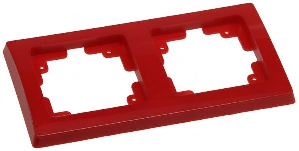 DELPHI 2-fach Rahmen rot für Steckdose Wechsel-Schalter Dimmer Taster usw.