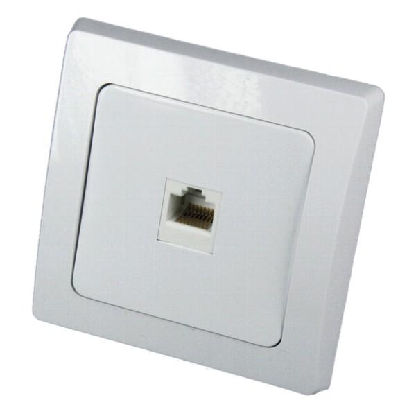 1* DELPHI RJ45 Dose für ISDN & Cat.5 inklusive Rahmen Unterputz weiß