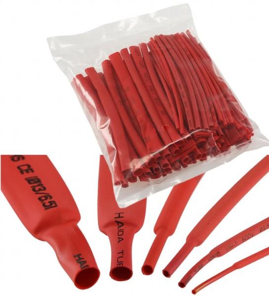 100 teiliges Schrumpfschlauch Sortiment Tüte Schrumpfschläuche 10cm lang in rot