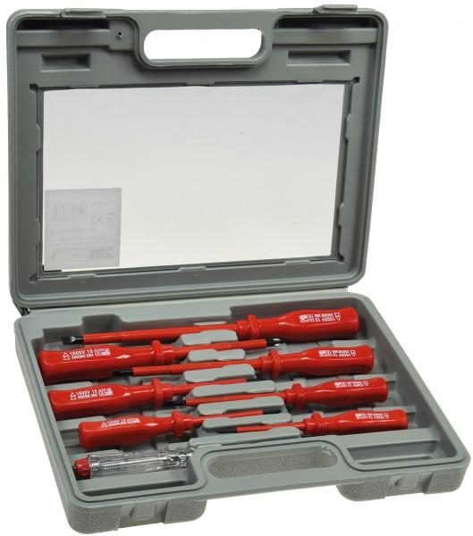 Elektro Schraubendreher Set 8tl. Schlitz Kreuz Schraubenzieher Werkzeug + Koffer