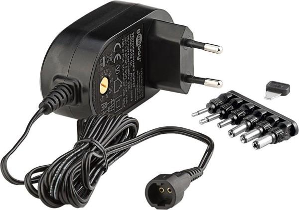 Universal Netzteil 1500mA max.18W   3V 4,5V 5V 6V 7,5V 9V 12V +6 Adapter Stecker