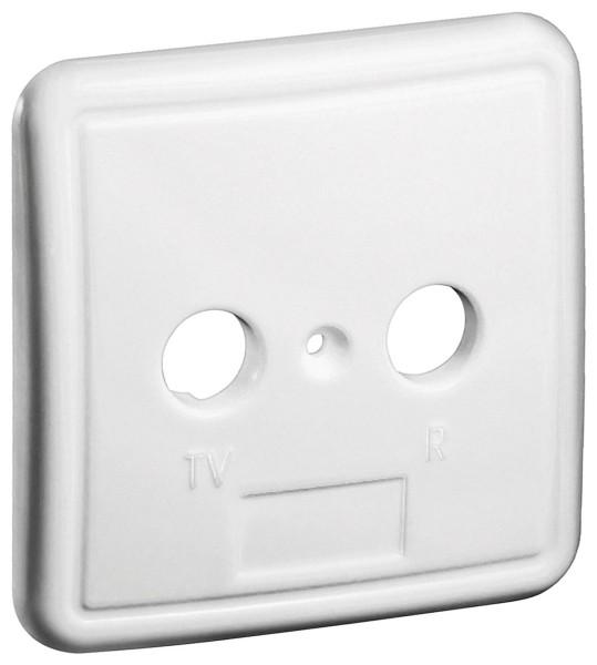 2-Loch Abdeckung in weiß für Antennensteckdose TV BK Dose Antennendose weiss