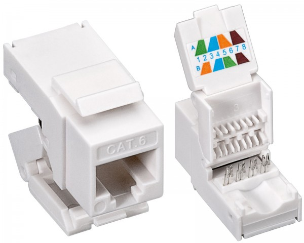 Goobay® CAT 6 KeyStone Jack RJ45 werkzeuglos UTP SNAP-IN CAT6 Modularkupplung