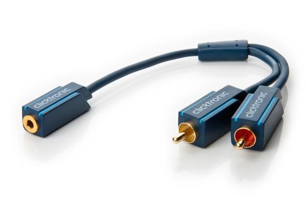 Clicktronic Premium MP3 Y-Adapter 3,5mm Klinken Kupplung > 2x Cinch Stecker 0,1m