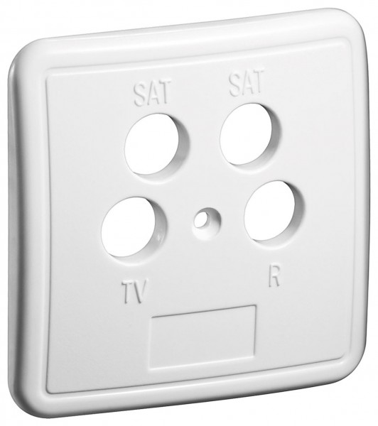 4-Loch Abdeckung in weiß für Antennensteckdose TV BK Dose Antennendose weiss