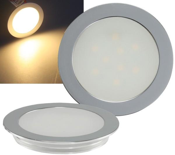 1* LED Einbauleuchte rund 9 LED Slim 12V 0,5W warmweiß Alu matt trittfest IP67
