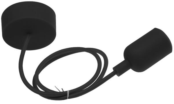 E27 Lampenaufhängung Silikon schwarz Textil Kabel Lampenkabel Hängeleuchte