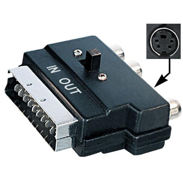 TV SCART AV Adapter 3x Chinch Cinch Audio + Video in/out Schalter Scartadpater