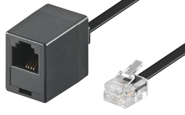 6m RJ11 Telefon Kabel Verlängerung 1F/1M Stecker > Buchse Kupplung 4polig belegt