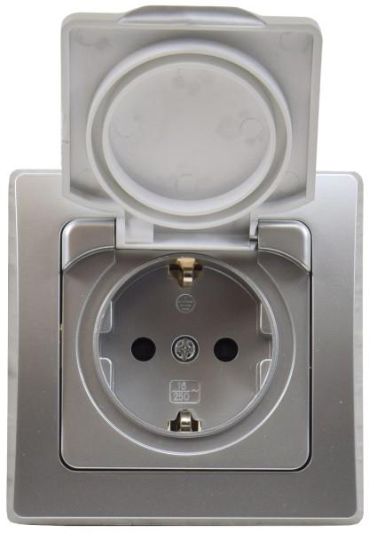 DELPHI Schutzkontakt Steckdose silber Klapp Deckel IP44 spritzwasser geschützt