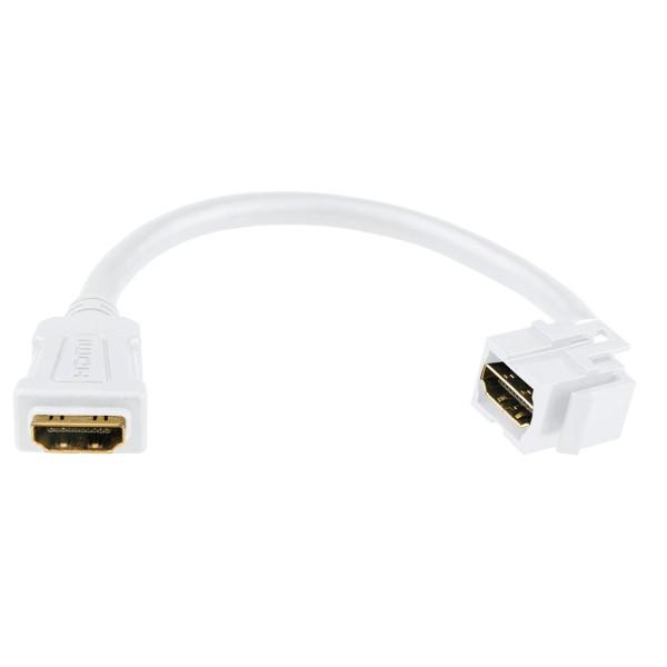 Keystone Modul HDMI Buchse Kabelpeitsche 80° gewinkelt weiß SNAP-IN Verbinder