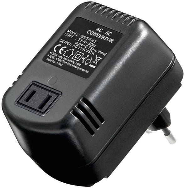 HQ® Spannungswandler für USA Geräte Reiseadapter 220V zu 110V 45W Strom Netzteil