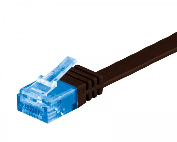 20m CAT 6a Patchkabel Flachkabel 500MHz U/UTP 2xRJ45 Netzwerk Kabel dunkelbraun