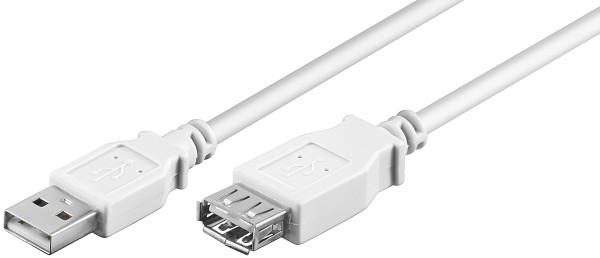 0,3m USB Verlängerungskabel USB Verlängerung USB 2.0 A Stecker zu A Buchse weiß