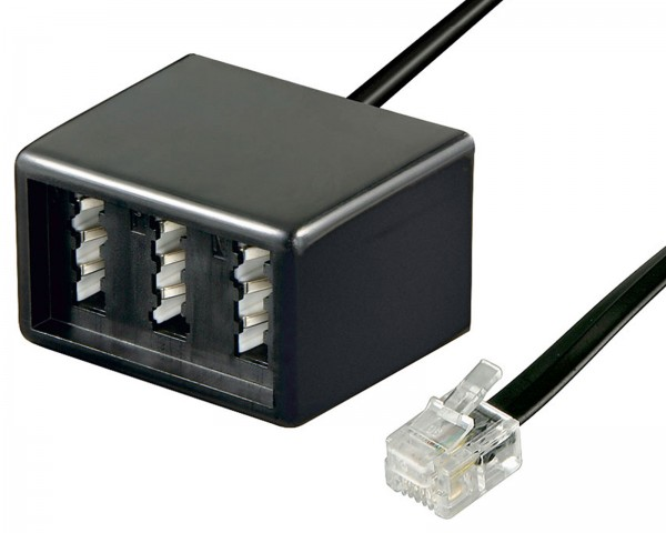 Modular TAE Telefon Adapter RJ11 Stecker 3x TAE Buchse 2x TAE-F 1x TAE-N 0,2m