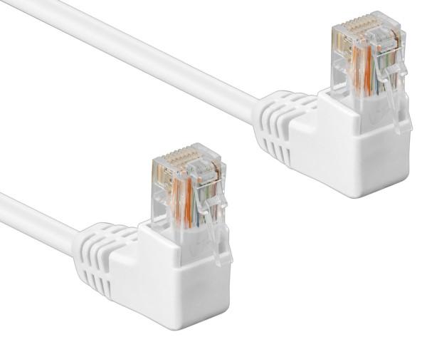 3m Patchkabel CAT 5e 2*90°gewinkelt Netzwerk Kabel U/UTP LAN DSL weiß RJ45