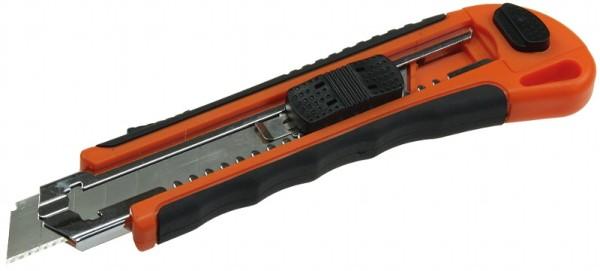 Abbrechmesser mit 18mm Klinge Ergo Griff 2 Ersatzklingen schwarz rot Cutter