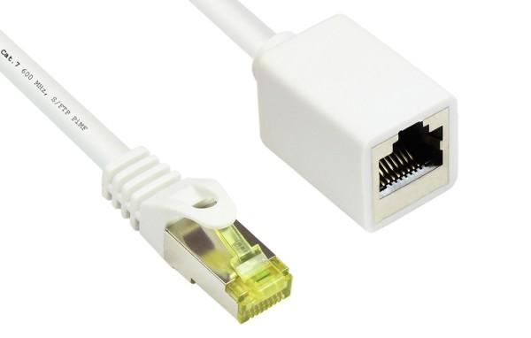 5m Netzwerkkabel Patchkabel Verlängerung mit CAT7 Rohkabel S/FTP LAN DSL weiß