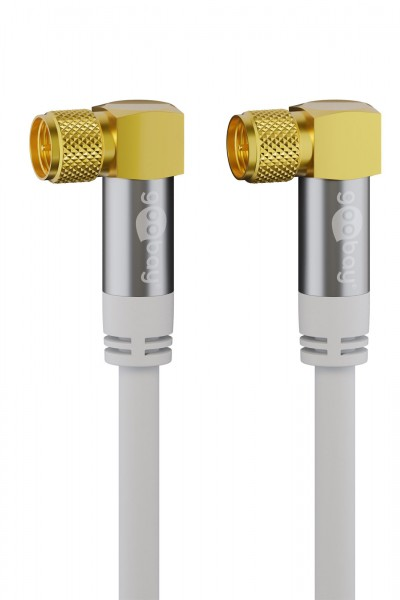 1m Sat Koax Kabel 90° gewinkelt F-Stecker Antennenkabel Digital TV ULTRA HD 4K