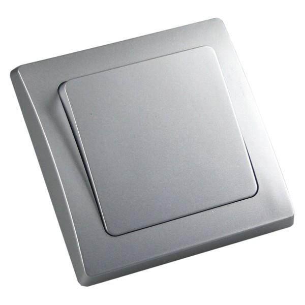 1* DELPHI Wechsel-Schalter Klemmanschluss 250V~ 10A inklusive Rahmen UP silber