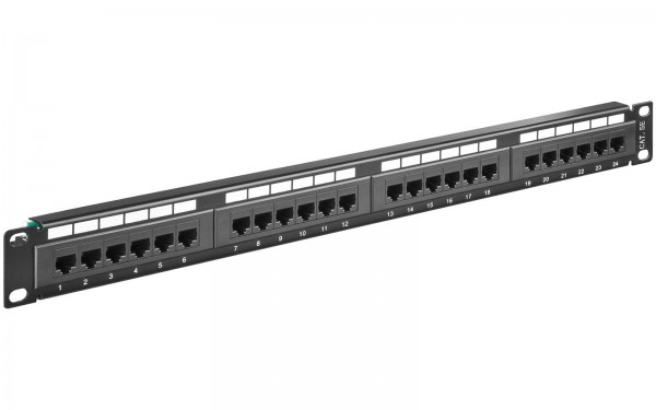 "Goobay CAT5e 24 Port RJ45 Patchpanel 19"" Patchfeld LSA Leiste Panel schwarz UTP"