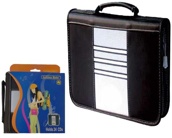 CD DVD CDRW BD Mappe Tasche für 24 Discs weiches Leder