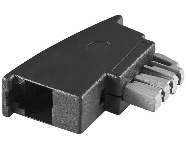 1 Stück Telefon Modular Adapter TAE N-Stecker auf RJ11 Buchse schwarz