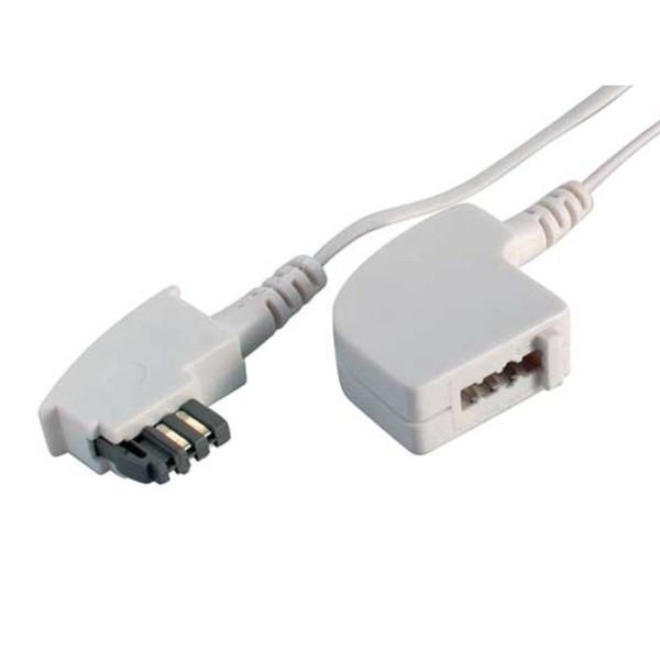 6m TAE N Telefon Verlängerung Kabel weiß TAE N-Stecker > TAE N-Kupplung weiss