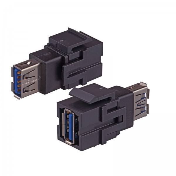 Keystone Modul USB 3.0 A Buchse Gender Changer schwarz SNAP-IN Adapter Verbinder