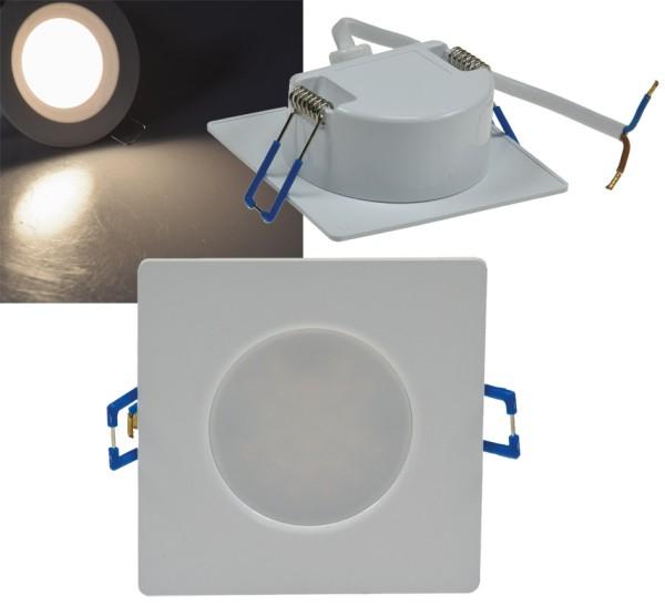 LED Einbauleuchte 5W IP44 Spot 230V weiß Kunststoff Ø68mm EB-Loch eckig 4000K