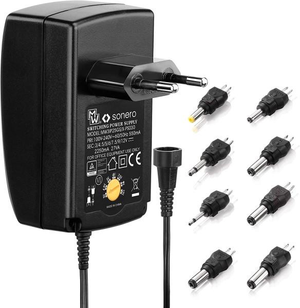 2250mA Universal Netzteil 3V 4,5V 5V 6V 7,5V 9V 12V AC/DC + 8 Adapter Stecker