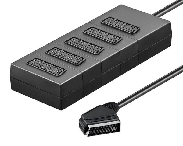 5Fach 5* Scart Verteiler Adapter Stecker TV Scartverteiler Splitter Weiche 0,4m