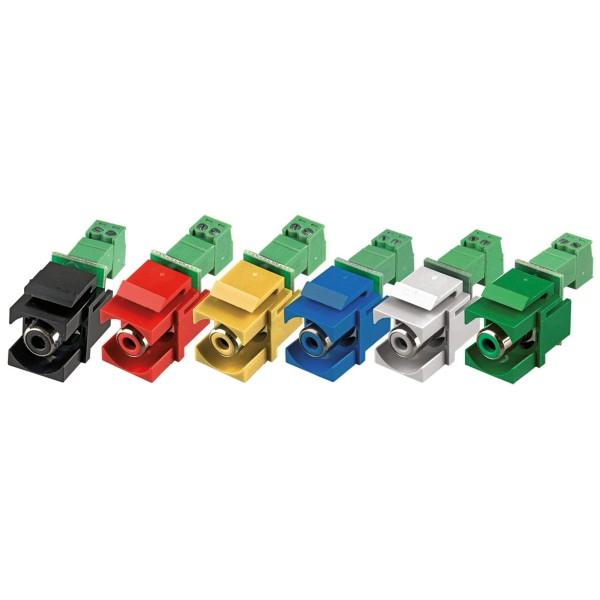 Keystone Modul Cinch Buchse Steckklemme grün SNAP-IN Adapter Verbinder