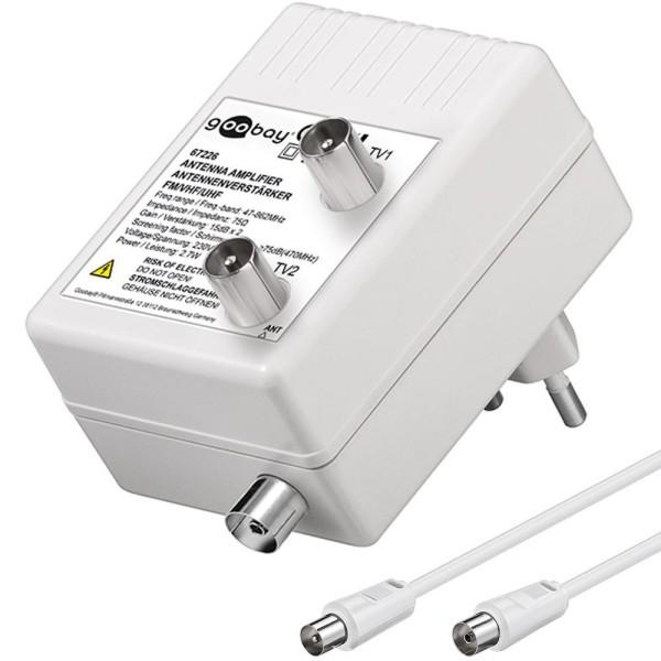 TV Antennenverstärker 15dB HD DVB-T DVB-T2 DVB-C Signal Verstärker Zweitgeräte