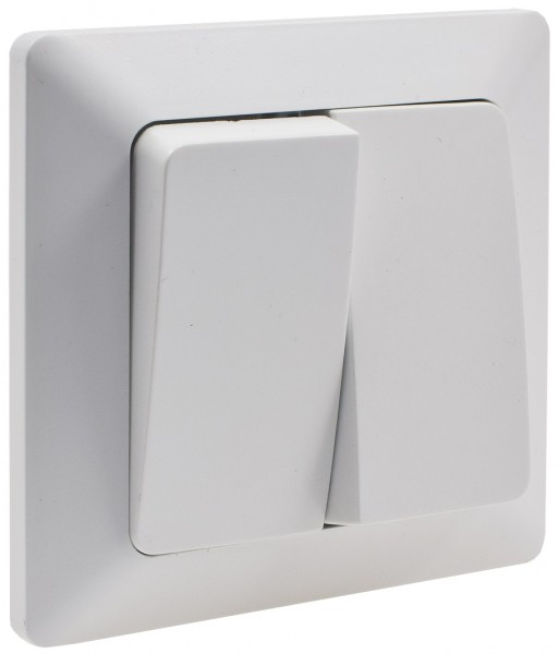 MILOS Serien-Schalter 2-fach weiß matt 250V~/ 10A inkl. Rahmen UP