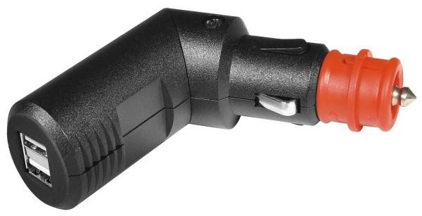 ProCar KFZ Zigarettenanzünder Winkelstecker 180° mit 2* USB Buchse 12V 24V 2,5A