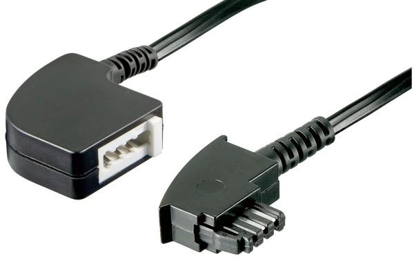 3m Telefon TAE-F-Stecker Verlängerungs Kabel > TAE F Kupplung Buchse schwarz