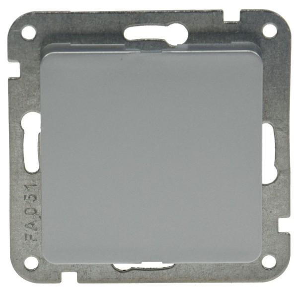 DELPHI Blindabdeckung Blende silber für Unterputz oder Aufputz + Metall Tragring