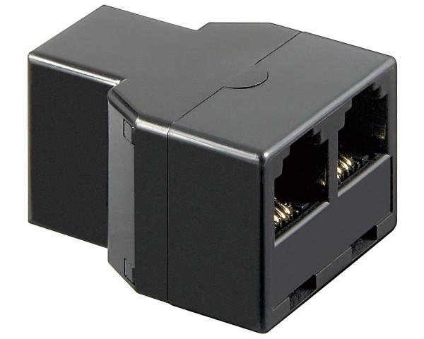 1 Stück Telefonadapter 1F>2F Verteiler 2x RJ11-Buchse > 1x RJ11-Buchse