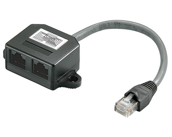 RJ45 Y Verteiler Adapter Splitter Cat.5e Netzwerk LAN Ethernet Kabel Doppler 1/2