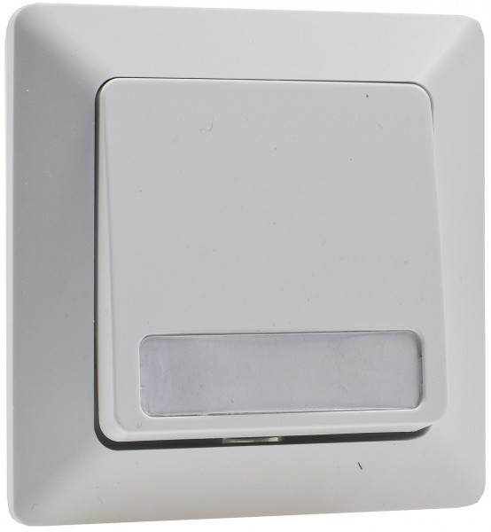 MILOS Taster mit Namensschild weiß matt 250V~/ 10A inkl. Rahmen UP