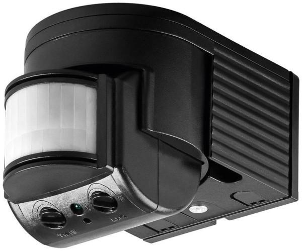 Aufputz Infrarot Bewegungsmelder 180° | max. 12m Überwachungswinkel IP44 Schwarz