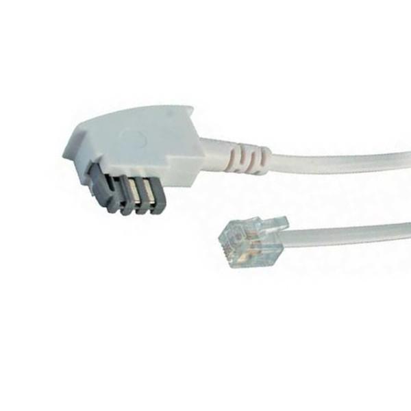 10m Telefon Anschluß Kabel TAE N Stecker > RJ11 Western Stecker 6/4 weiß weiss