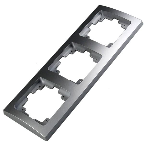 1* DELPHI 3-fach Rahmen silber für Steckdose Wechsel-Schalter Dimmer Taster usw.