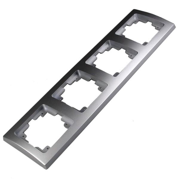 1* DELPHI 4-fach Rahmen silber für Steckdose Wechsel-Schalter Dimmer Taster usw.