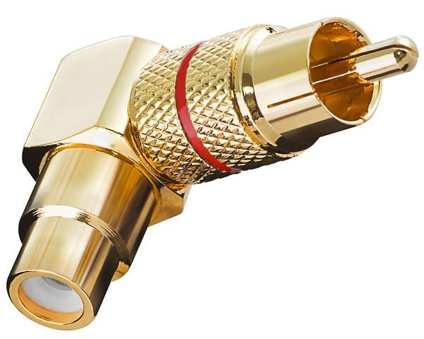 Adapter Cinch RCA Winkeladapter Chinch Winkel Stecker rot Gold Metall Ausführung
