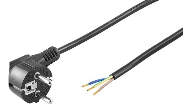1,5m Netzkabel Stecker 90° gewinkelt Typ F CEE 7/7 > 3 lose Kabelenden schwarz