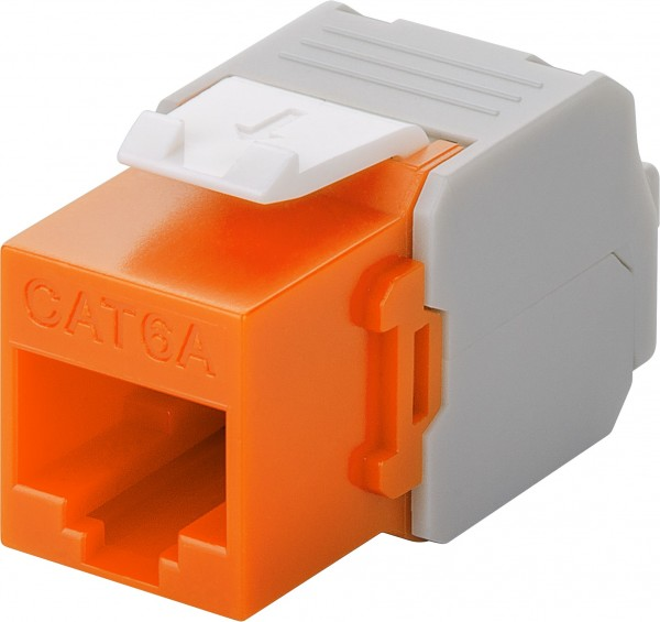 Cat 6a Keystone Jack RJ45 Ethernet Netzwerk Buchse 500MHz Modul orange LSA LAN
