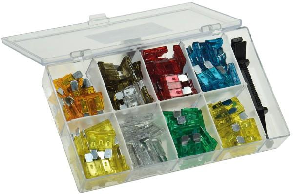 100tlg Kfz-Flachsteck Sicherungen Box 5-30 Ampere Autosicherung Flachsicherung