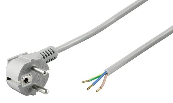 2m Netzkabel Stecker 90° gewinkelt TypF CEE7/7 > 3 lose Kabelenden grau